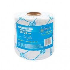 White line, Салфетки в рулоне 20x20 см, голубой спанлейс, 100 шт.