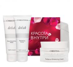 CHRISTINA Набор Антивозрастной для лица (скраб 75 мл, крем 50 мл, маска 75 мл) Wish kit