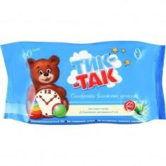 Тик-Так Детские влажные салфетки с экстрактом алоэ, Д-пантенолом и витаминами F и Е N60 ТИК-ТАК